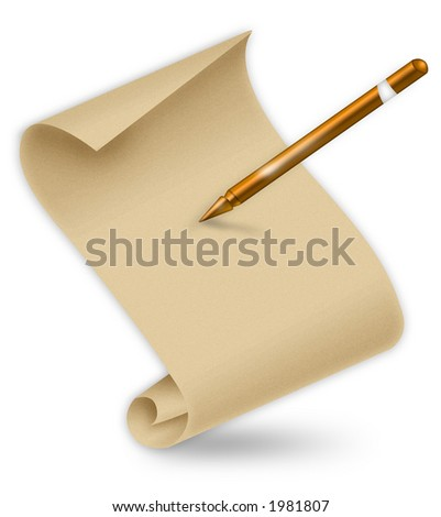Blank paper with gold pen on white background