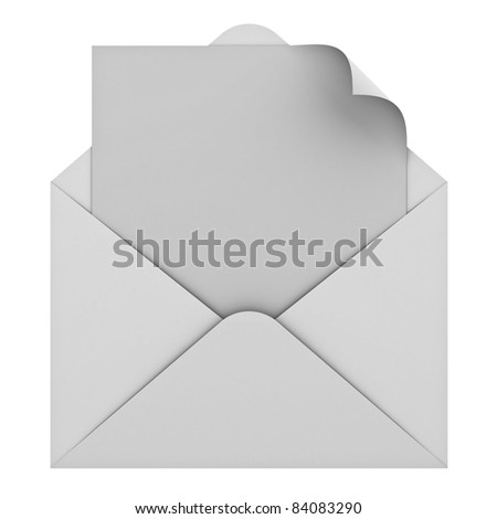 Blank paper with page curl in envelope