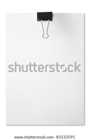 Blank paper with paper clip isolated in white background