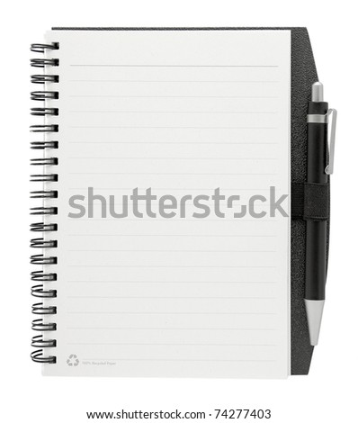 blank paper with pen isolated on white