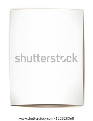 Blank paper with shadow - on white background