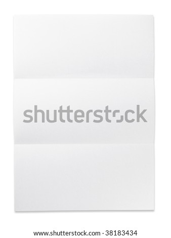 Blank paper with three fold mark. isolated on white. Excellent for overlaying letters and documents.