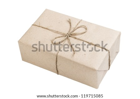 blank parcel with bow isolated on white