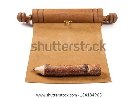 Blank parchment manuscript and pencil isolated on white background