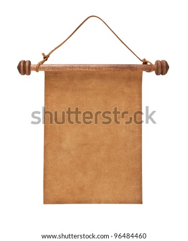 Blank parchment manuscript in a wooden case isolated on white background