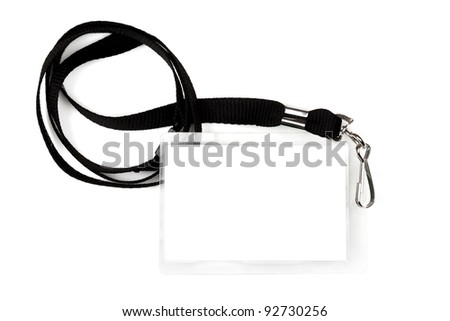 Blank pass or ID tag on a black lanyard, isolated on white.