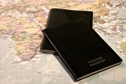 Blank Passport with the world map in the background