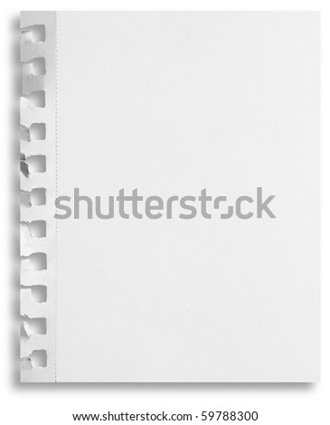 Blank perforated notepaper sheet with ripped holes and shadow isolated on white background.
