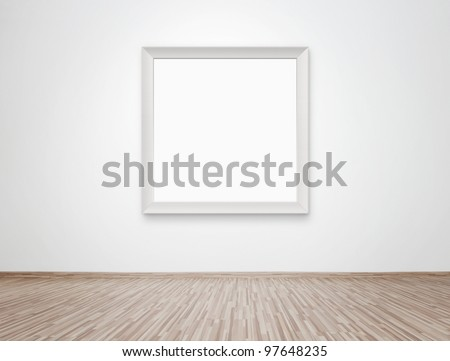 Blank photo frame at the wall with clipping path for the inside