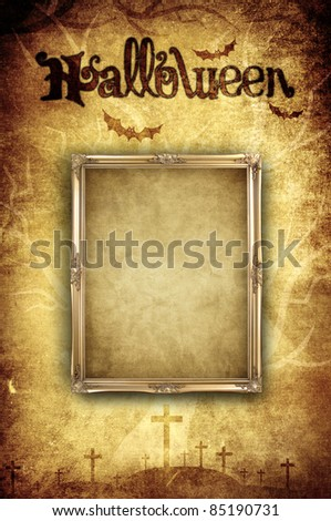 blank photo frame on halloween background concept