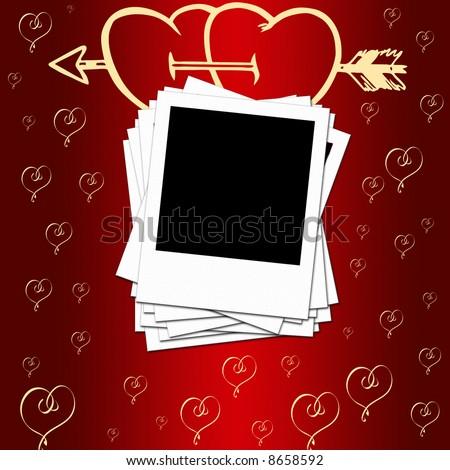 Blank photo frames, romantic background - stock photo