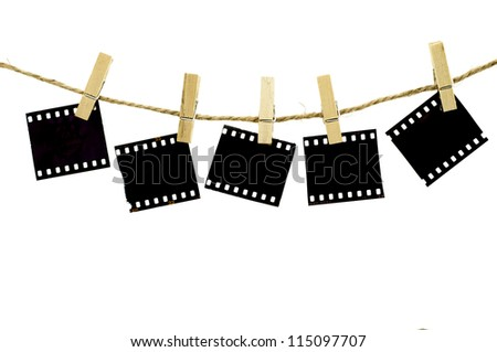 Blank photo frames with hanger on rope with white background
