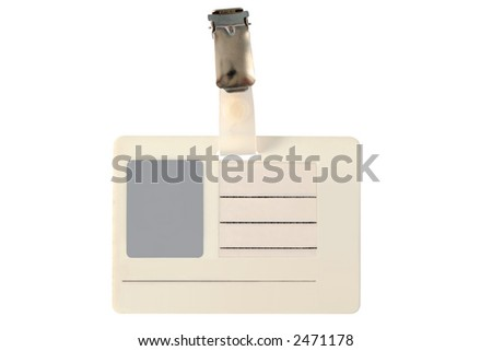 Blank photo ID badge, isolated on a white background.