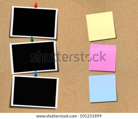 Blank photo on wooden plate material background plate.