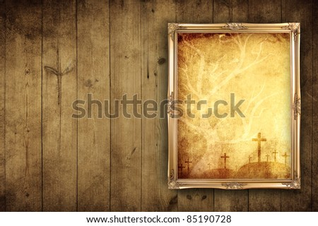 blank photo with halloween background on wooden background