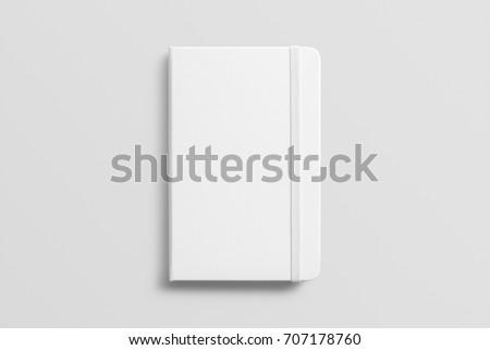 Blank photorealistic notebook mockup on light grey background, 3d illustration.