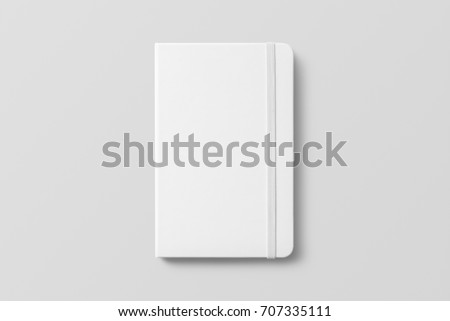 Blank photorealistic notebook mockup on light grey background, 3d illustration.
