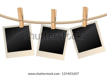 Blank photos hanging on a clothesline. Raster version. Vector is also available in my gallery