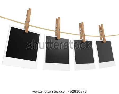 Blank photos hanging on rope. 3d illustration an a white background