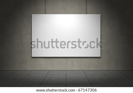 Blank picture frame on concrete wall. Copmuter generated image - stock photo