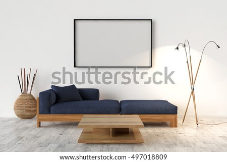 Blank picture frame on the wall. Empty Interior with sofa and table - 3D illustration