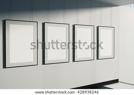 Blank picture frames on concrete wall background. Mock up, 3D ...