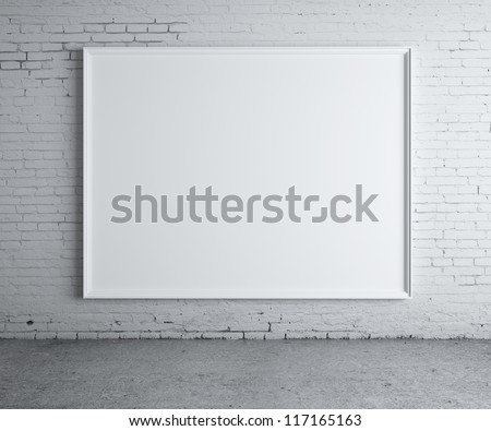 blank picture on a concrete wall closeup - stock photo