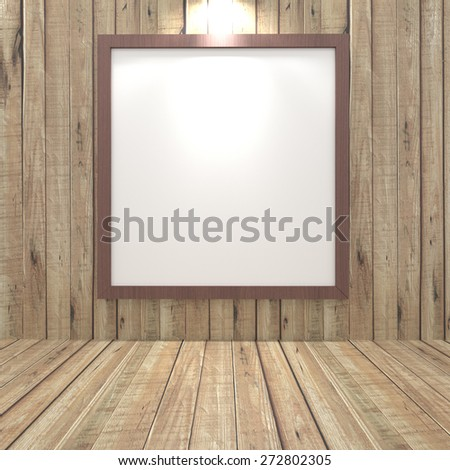 Blank pictures of large sizes in wooden empty room.