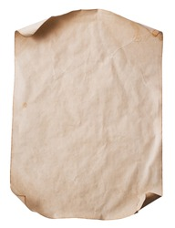 blank piece of old paper with curled corners (clipping path)