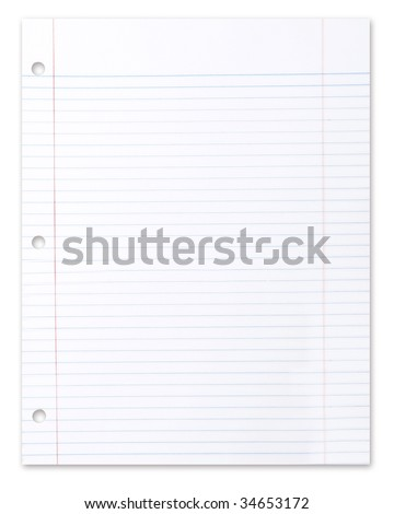 Blank Piece of School Lined Paper on White With a Drop Shadow