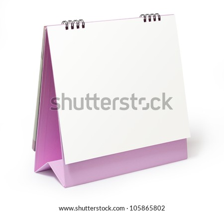 blank pink desktop calendar on white background