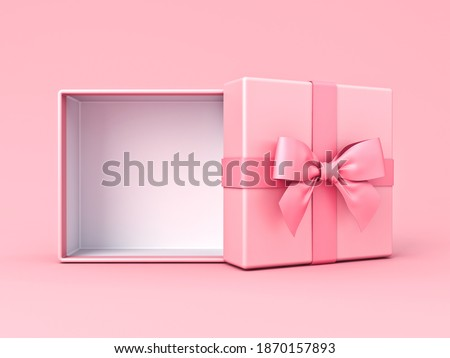 Blank pink pastel color present box or open gift box with pink ribbon and bow isolated on pink pastel color background with shadow minimal conceptual 3D rendering