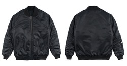 Blank plain bomber jacket isolated on white background. black bomber jacket. parachute jacket. front and back view. ready for your mock up design template.