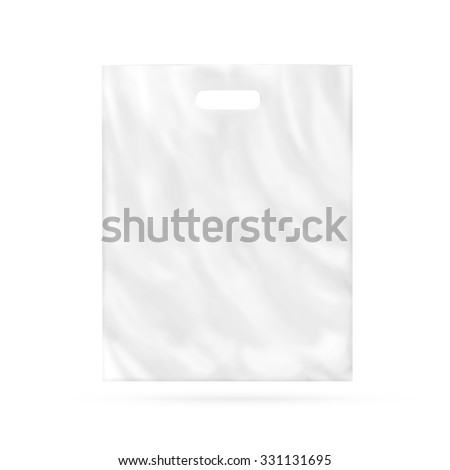 Blank plastic bag mock up isolated. Empty white polyethylene package mockup. Consumer pack ready for logo design or identity presentation. Commercial product food packet handle. Magazine market parcel