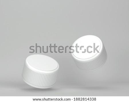 Blank plastic bottle cap mockup. 3d illustration on gray background  Foto d'archivio ©