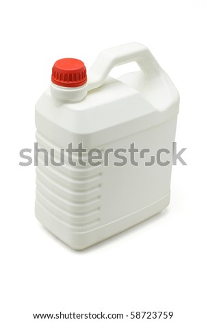 Blank plastic lubrication oil container on white background
