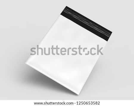 Blank  Plastic Postal Mailing Bags Parcel Envelope Self Seal Courier Pouches Shipping Plastic Bags Postal Packing. 3d render illustration.