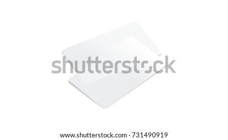 Blank plastic transparent business cards mockup isolated, 3d rendering. Clear pvc namecard mock up with rounded corners. Empty acrylic horizontal customer pasteboard template for logo presentation.
