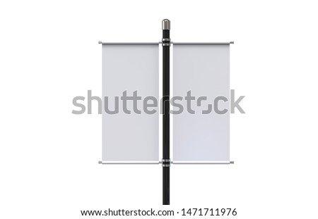 Blank pole banner mock up template on isolated white background, ready for design presentation, 3d illustration