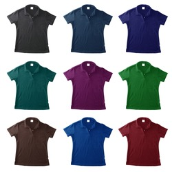 blank polo shirts. isolated on black background. Ready for your design or logo.