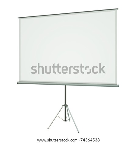 Blank portable projection screen over white background. 3D rendered image