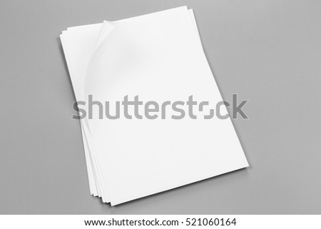 Blank portrait A4. brochure magazine isolated on gray, changeable background / white paper isolated on gray #521060164