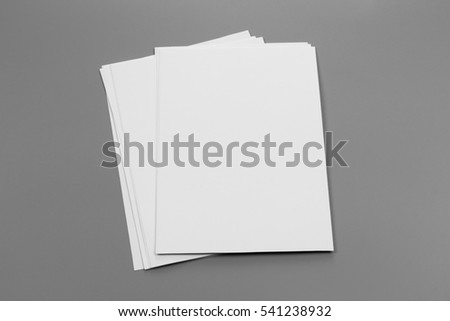 Blank portrait A4. brochure magazine isolated on gray, changeable background / white paper isolated on gray #541238932