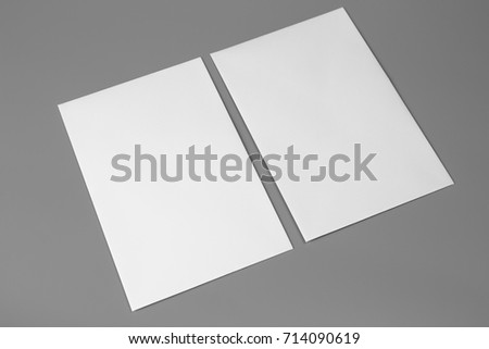 Blank portrait A4. brochure magazine isolated on gray, changeable background / white paper isolated on gray #714090619