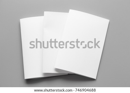 Blank portrait. changeable background / white paper isolated on gray. identity design, corporate templates, company style, set of booklets, blank white folding paper flyer #746904688