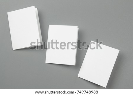 Blank portrait. changeable background / white paper isolated on gray. identity design, corporate templates, company style, set of booklets, blank white folding paper flyer #749748988