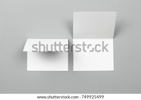 Blank portrait. changeable background / white paper isolated on gray. identity design, corporate templates, company style, set of booklets, blank white folding paper flyer #749925499