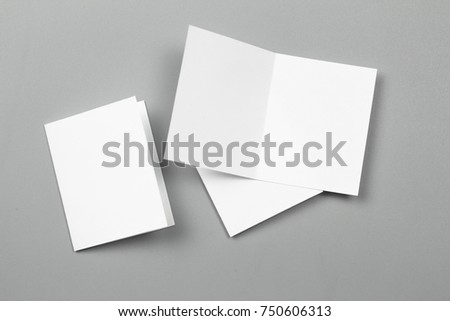 Blank portrait. changeable background / white paper isolated on gray. identity design, corporate templates, company style, set of booklets, blank white folding paper flyer #750606313