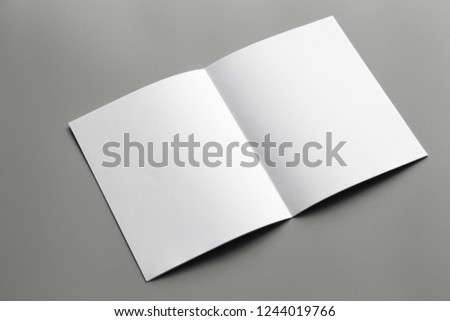 Blank portrait mock-up paper. brochure magazine isolated on gray, changeable background / white paper isolated on gray #1244019766