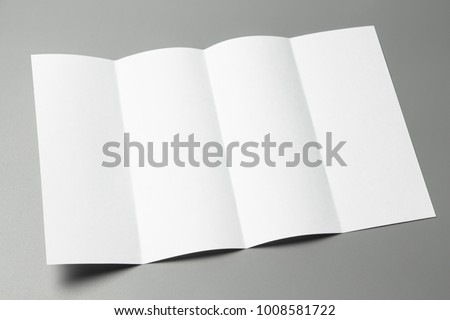 Blank portrait Mock-up paper. changeable background / white paper isolated on gray. identity design, corporate templates, company style, set of booklets, blank white folding paper flyer #1008581722